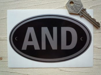 "AND Andorra Black & Silver ID Plate Sticker. 5""."