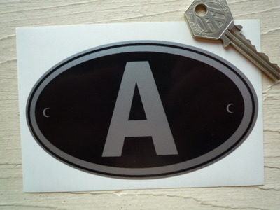 "A Austria Black & Silver ID Plate Sticker. 5""."