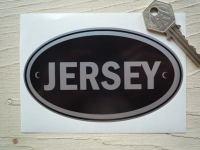 """Jersey Black & Silver ID Plate Sticker. 5""""."""