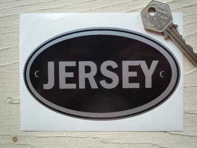 Jersey Black & Silver ID Plate Sticker. 5