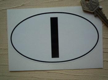 "I Italy Black & White ID Plate Sticker. 5""."