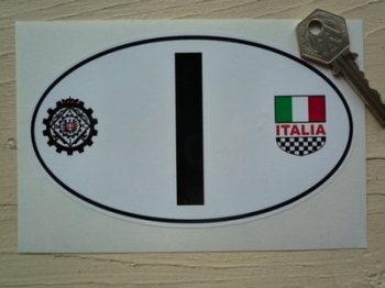 "I Italy Italia & Raci ID Plate Sticker. 3.5"" or 6""."