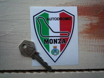 "Monza Autodromo Tricolore Shield Sticker. 3.25""."