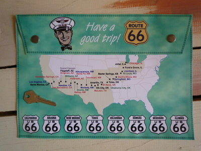 Route 66 Have a Good Trip Map Large A4 Document Holder/Toolbag.