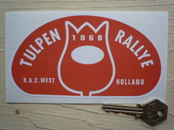 "Tulip Rally Tulpenrallye 1968 Orange Rally Plate Sticker. 6""."