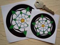 Yorkshire White Rose Circular Sticker. 3