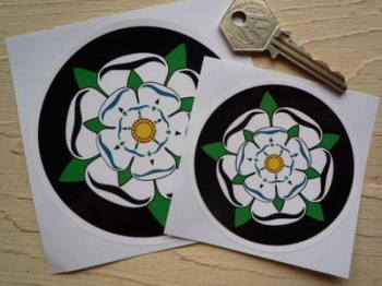 "Yorkshire White Rose Circular Sticker. 3"" or 4""."