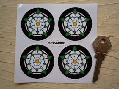 Yorkshire White Rose Wheel Centre Style Stickers. Set of 4. 50mm.