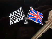 "Union Jack & Crossed Chequered Flag Stickers. 2"" Pair"