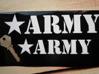 """Royal Enfield Army & Star Cut Text Stickers. 6"""" or 8"""" Pair."""