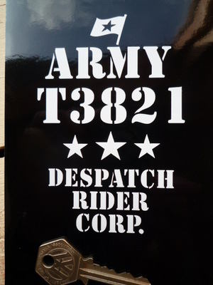 Royal Enfield Army Despatch Rider Corp Sticker. Khaki Green Bikes.