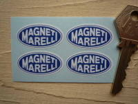 Magneti Marelli Blue & White Oval Stickers. Set of 4. 1.25