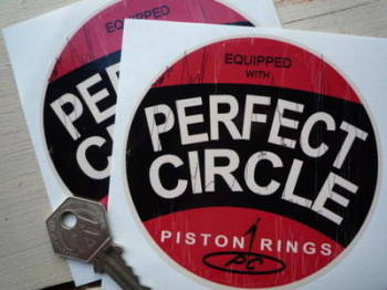 "Perfect Circle Worn Style Circular Stickers. 4"" Pair."