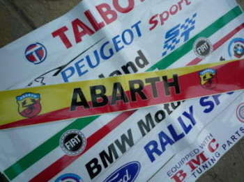 "Abarth Red & Yellow Sunstrip Screentop Decal. 52""."