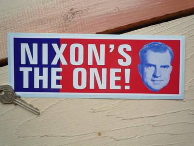 """Nixon's The One Bumper Sticker. 9""""."""