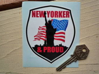 "New Yorker & Proud Shield Sticker. 3.25""."