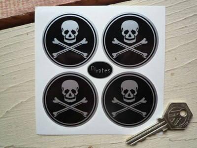 Skull & Crossbone Wheel Centre Style Stickers. Set of 4. 50mm.
