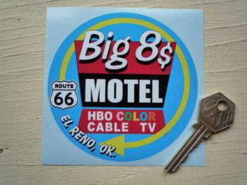"""Big 8$ Motel El Reno Route 66 Oklahoma Sticker. 4""""."""