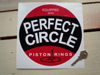 "Perfect Circle Piston Rings Circular Sticker. 8""."