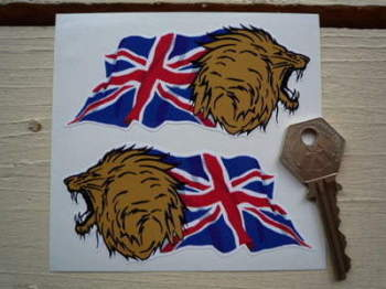 "Growling Lion Head Union Jack Stickers. 4"" Pair."