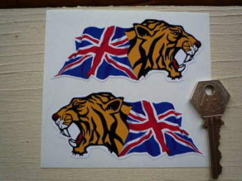 "Growling Tiger Head Union Jack Stickers. 4"" Pair."