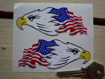 "USA Stars & Stripes Flag & Eagle Head Stickers. 4"" Pair."