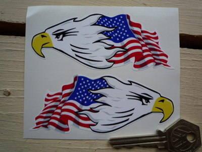 "USA Stars & Stripes Flag & Eagle Head Stickers. 4"" Pair."