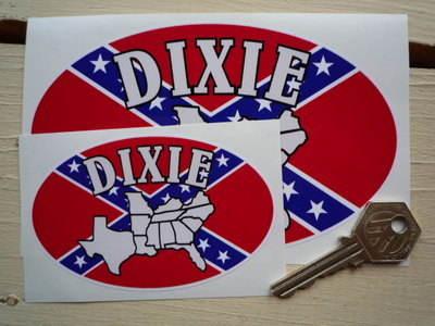 "Dixie USA Rebel Cross Oval Sticker. 4"" or 6""."