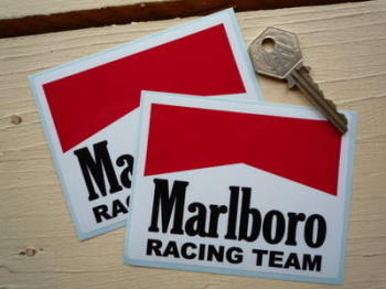 "Marlboro Racing Team Body or Window Stickers. 4"" Pair."