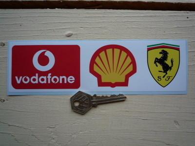 """Ferrari Sponsors Vodafone Shell Oblong Sticker. 8""""."""