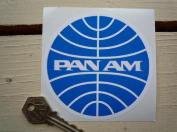 "Pan Am Circular Logo Sticker. 3"" or 4""."