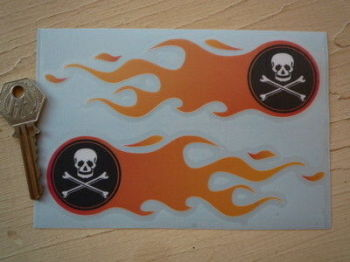 "Skull Flame Stickers. 5.75""."