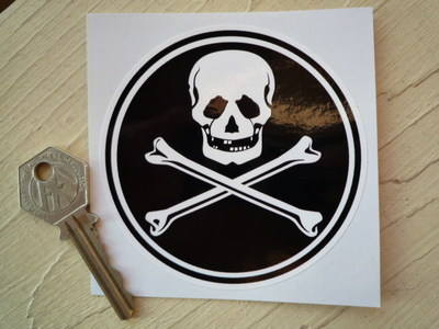 "Skull & Crossbone Circular Sticker. 3.5""."