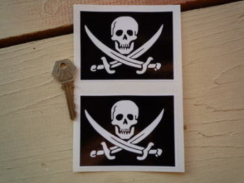 "Skull & Cross Sabre Oblong Stickers. 4"" Pair."