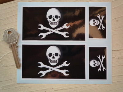 Skull & Cross Spanner Stickers. Set of 4.