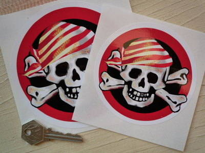 "Pirate Skull & Crossbone Circular Sticker. 4"" or 5""."
