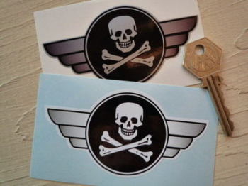 "Skull & Crossbones Jolly Roger Winged Helmet Sticker. 4"" or 6""."
