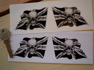 "Skull & Crossbones Wavy Union Jack Stickers. 3"" Pair."