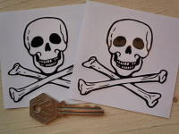 "Skull & Crossbone Cut To Shape Stickers. 3"" Pair."