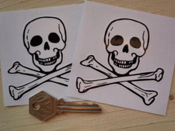 "Skull & Crossbone Cut To Shape Stickers. 3"" Pair."