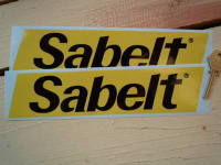 Sabelt Slanted Oblong Yellow & Black Stickers. 9.5