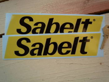 "Sabelt Slanted Oblong Yellow & Black Stickers. 9.5"" Pair."