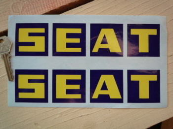 "Seat Blue & Yellow Squares Stickers. 8"" pair."