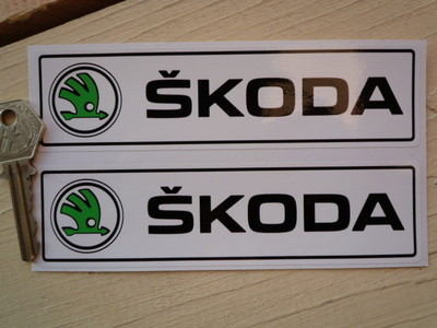 """Skoda New Style Oblong Stickers. 6"""" Pair."""