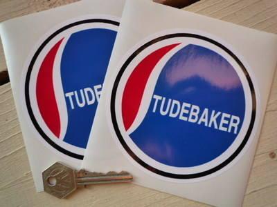 "Studebaker Circular Stickers. 4"" Pair."