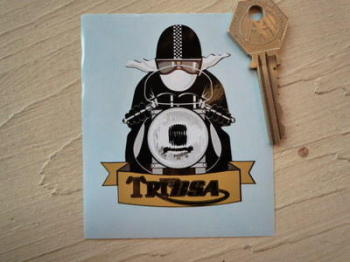 "TriBsa Cafe Racer with Pudding Basin Helmet Sticker. 3"","