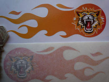 "Growling Tiger Face Flaming Stickers. 5.75"" Pair."
