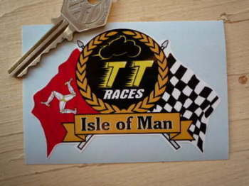 "Isle Of Man TT Races Flag & Scroll Sticker. 4"", 6"", 7"", or 10""."