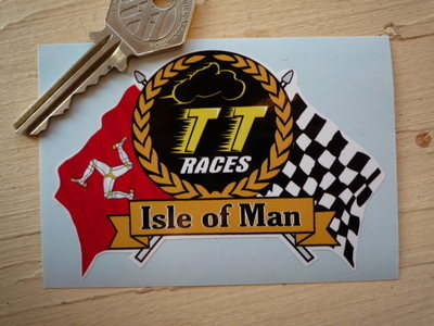 Isle Of Man TT Races Flag & Scroll Sticker. 4