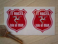 Isle Of Man TT Races Manx Shield Stickers. 1.75